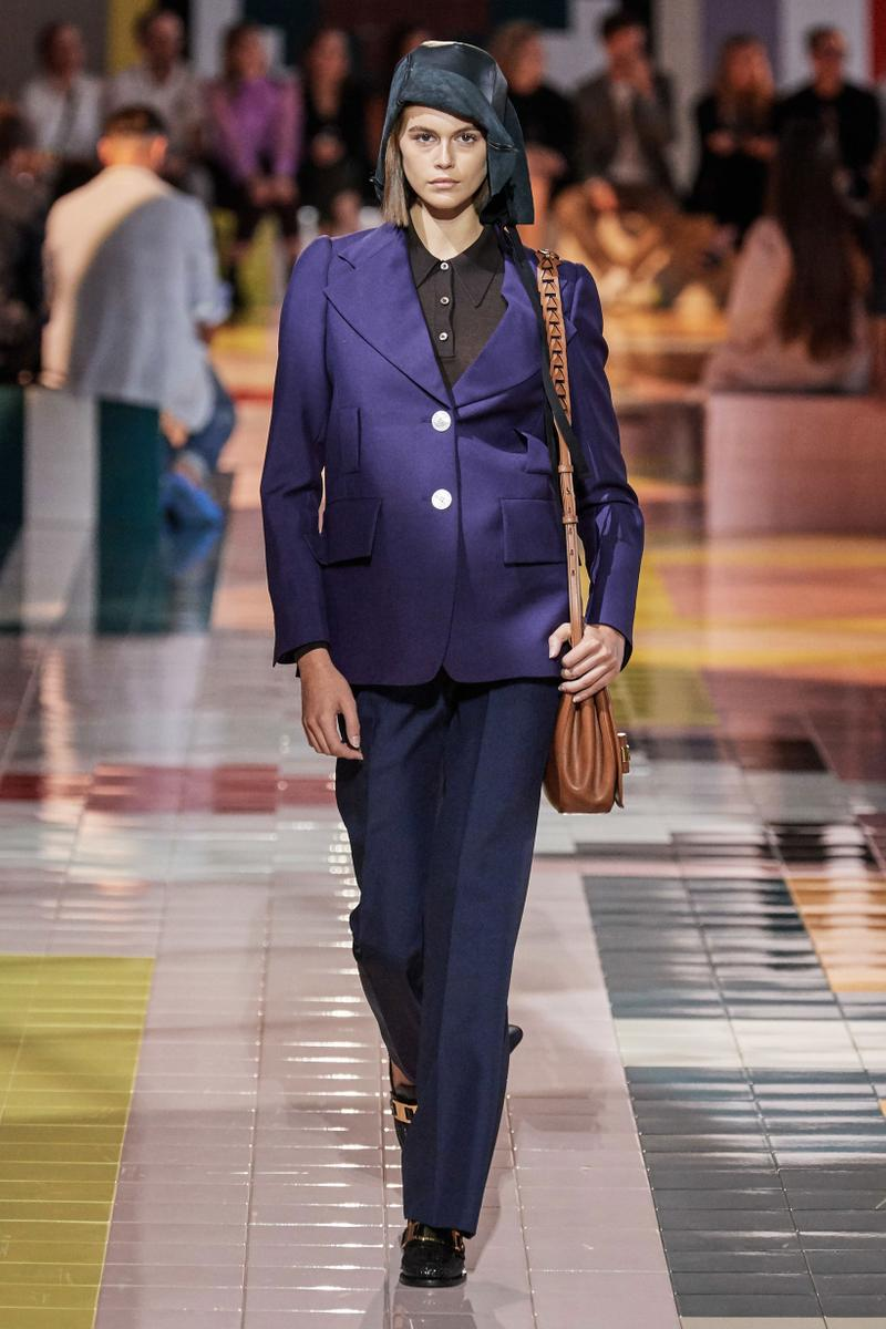 Prada Spring Summer 2020 Collection Milan Fashion Week Jacket Purple Pants Blue