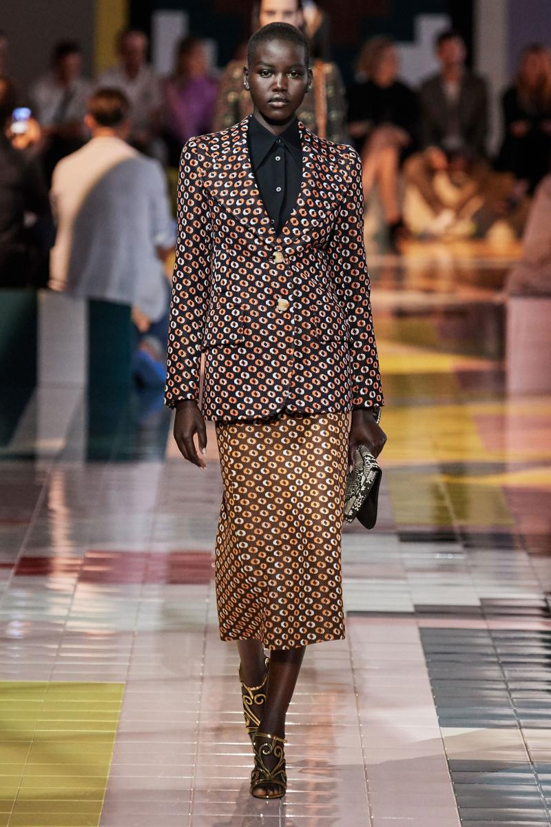 Prada Spring Summer 2020 Collection Milan Fashion Week Blazer Skirt Brown White