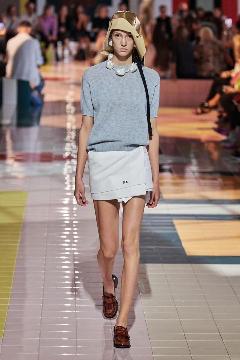 Prada Spring Summer 2020 Collection Milan Fashion Week Shirt Grey Skirt White