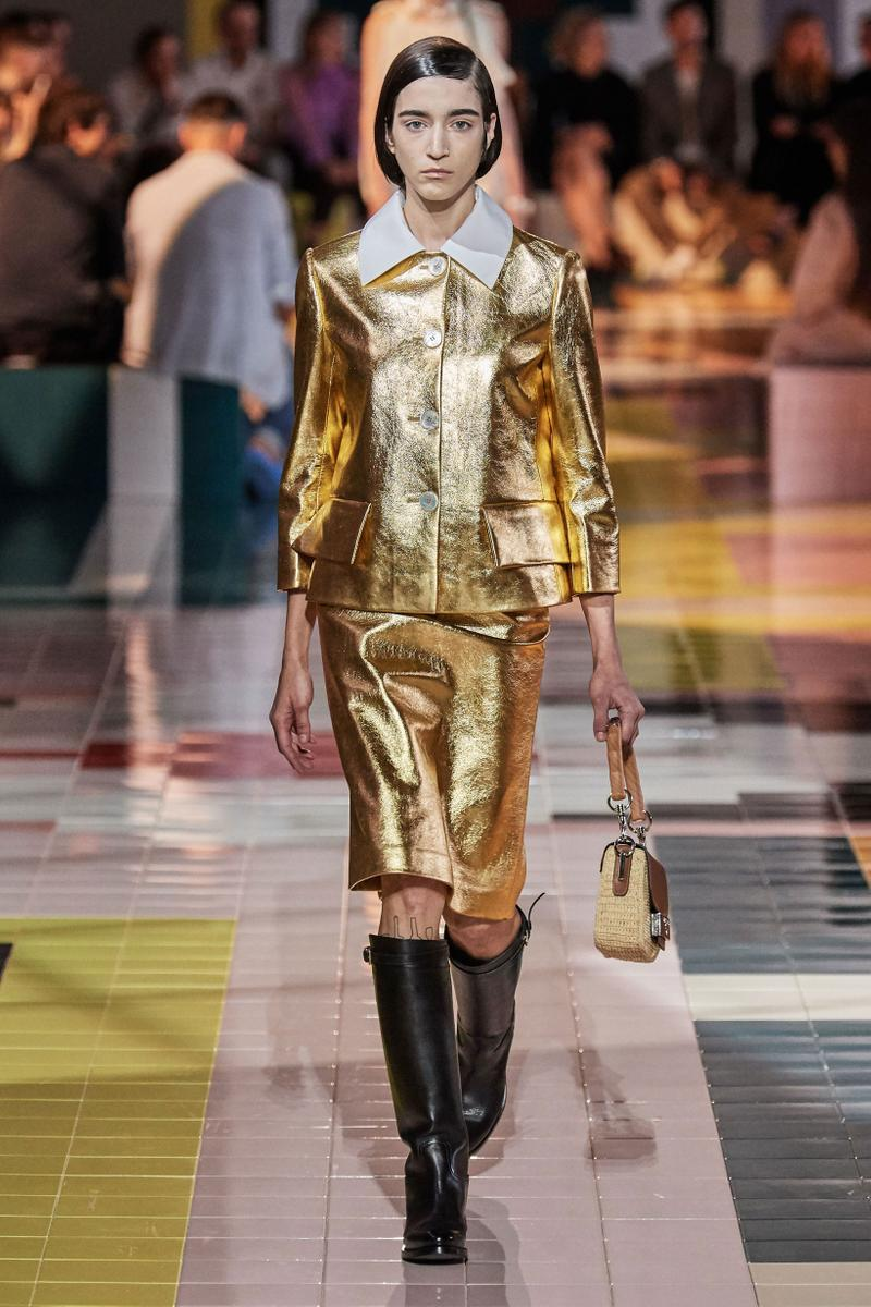 Prada Spring Summer 2020 Collection Milan Fashion Week Jacket Skirt Gold
