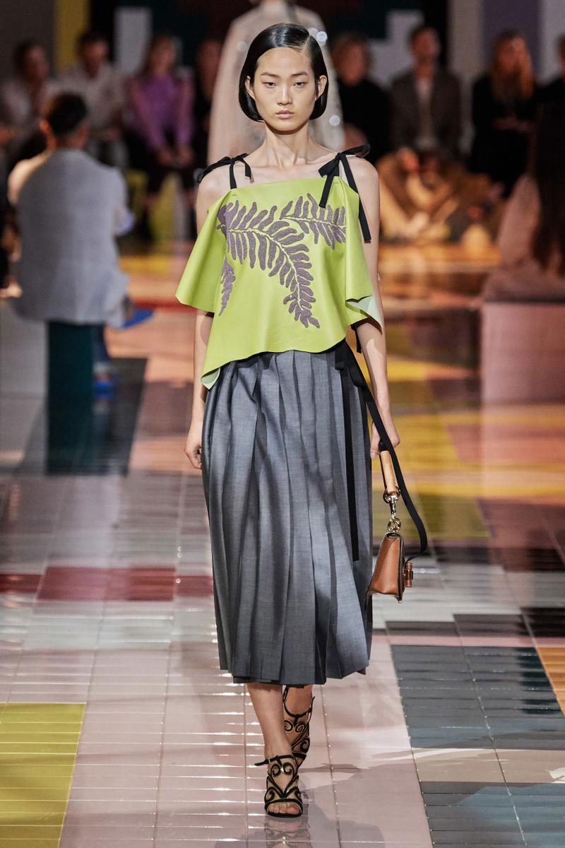 Prada Spring Summer 2020 Collection Milan Fashion Week Shirt Green Skirt Grey