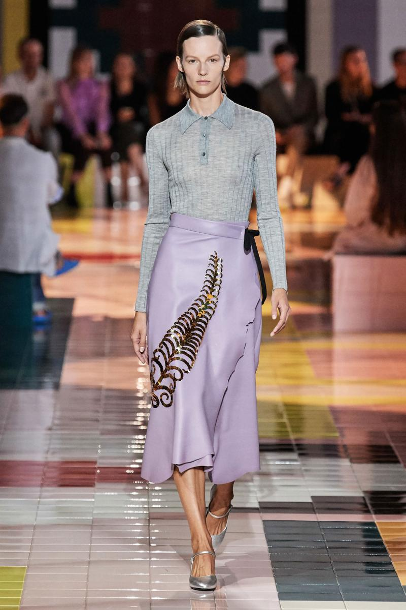 Prada Spring Summer 2020 Collection Milan Fashion Week Shirt Grey Skirt Purple