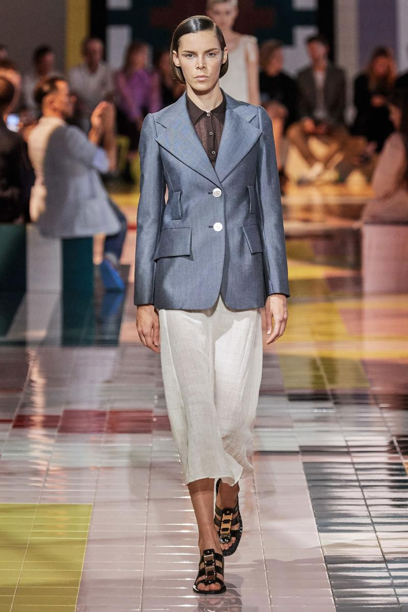 Prada Spring Summer 2020 Collection Milan Fashion Week Blazer Blue Pants Tan