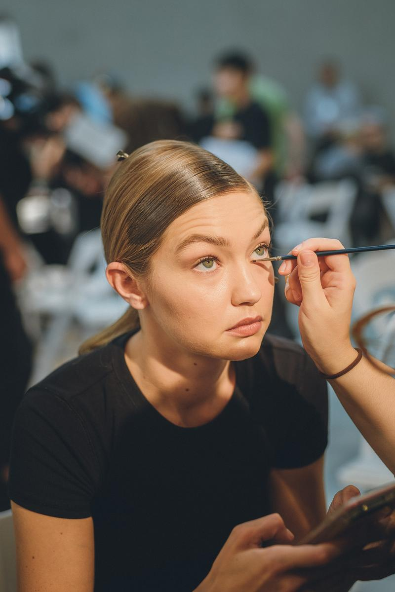 Prada Spring Summer 2020 Runway Show Milan Fashion Week Backstage Beauty Prep Hair Makeup Model Gigi Hadid