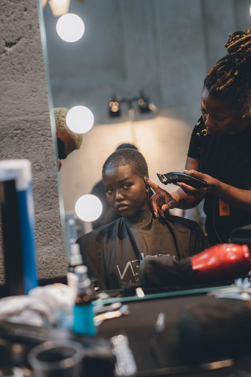 Prada Spring Summer 2020 Runway Show Milan Fashion Week Backstage Beauty Prep Hair Makeup Model Adut Akech