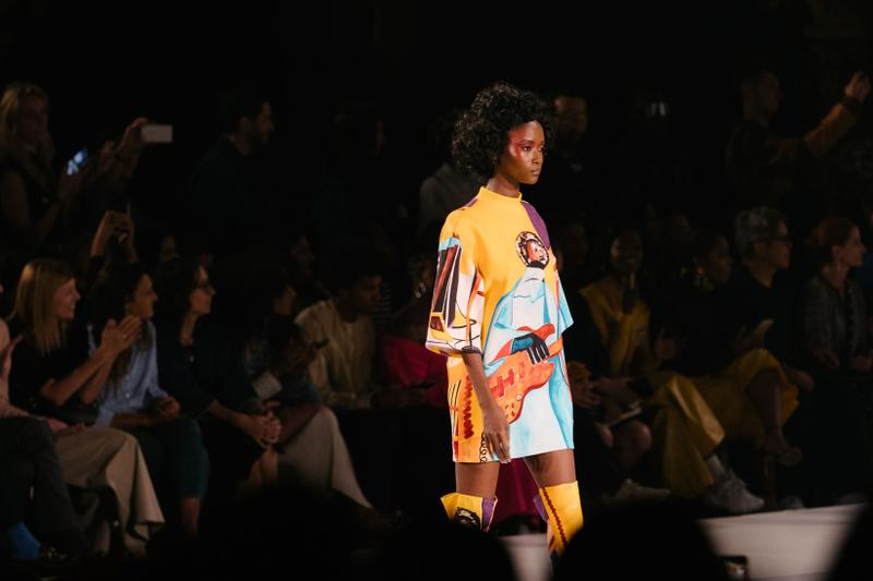 Pyer Moss Collection 3 New York Fashion Week Spring Summer 2020 Dress Yellow Blue