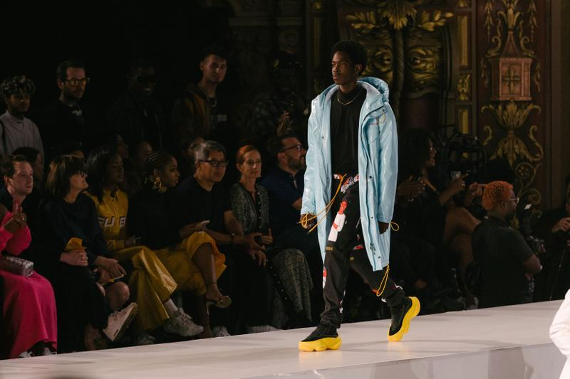 Pyer Moss Collection 3 New York Fashion Week Spring Summer 2020 Jacket Blue Pants Black