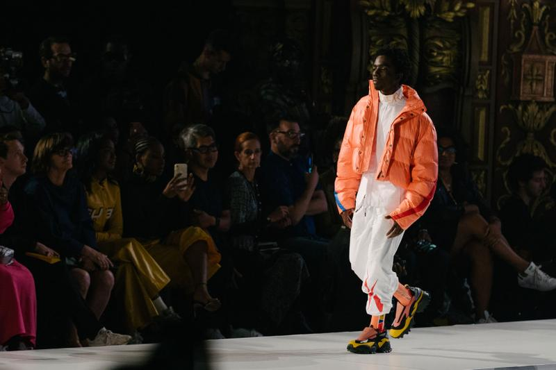 Pyer Moss Collection 3 New York Fashion Week Spring Summer 2020 Caleb McLaughlin Jacket Orange Pants White
