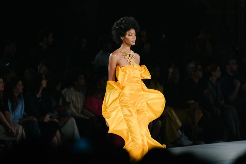Pyer Moss Collection 3 New York Fashion Week Spring Summer 2020 Dress Yellow