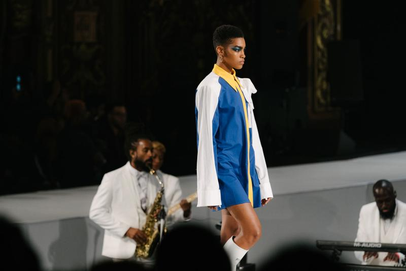 Pyer Moss Collection 3 New York Fashion Week Spring Summer 2020 Dress White Blue