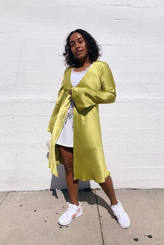 Eve Meets West Evelynn Escobar Thomas Rezek Studio Dion Top Avocado Green Dress Reebok Aztrek White
