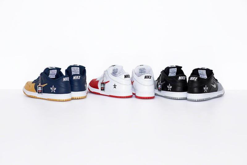 Supreme x Nike SB Dunk Low Collaboration Red White Blue Gold Silver Black