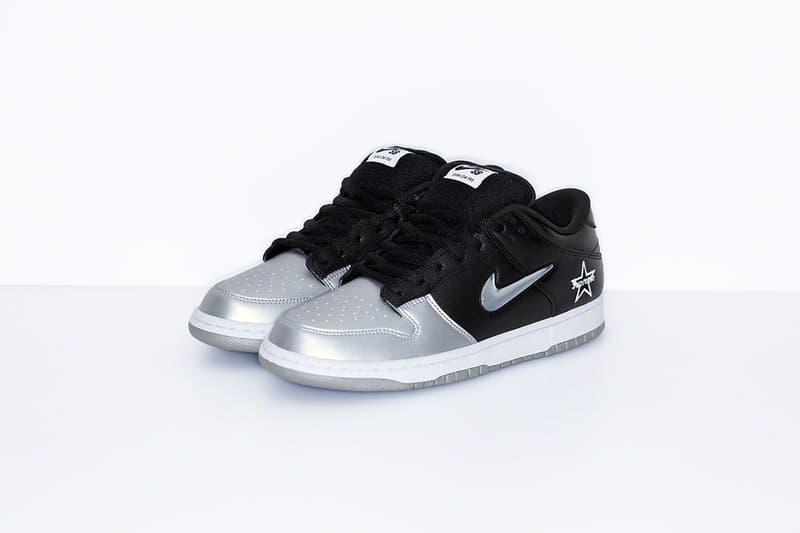 Supreme x Nike SB Dunk Low Collaboration Silver Black