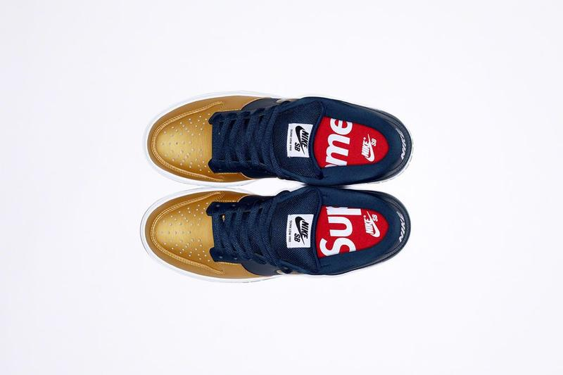 Supreme x Nike SB Dunk Low Collaboration Gold Blue