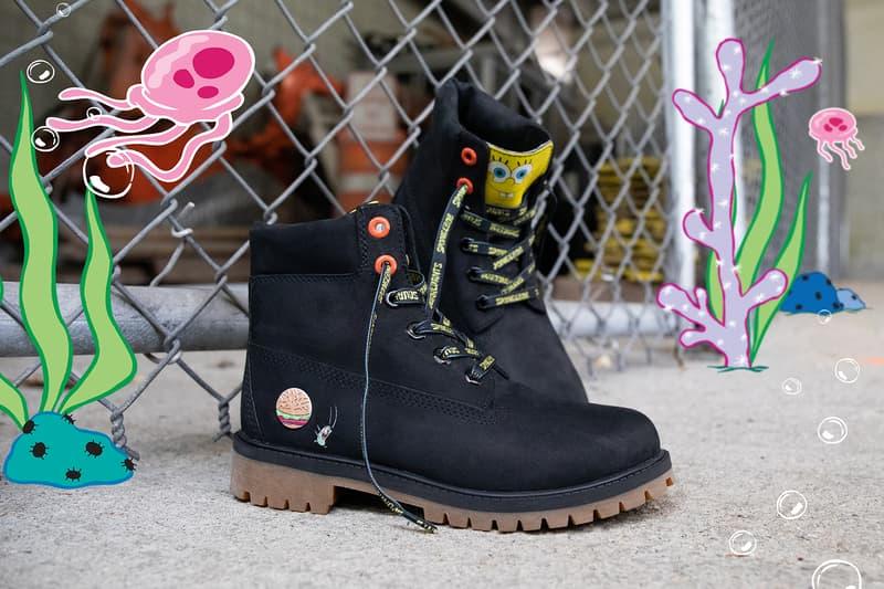timberland spongebob squarepants collaboration boots blue black release date footwear shoes jackets hoodies shorts shirts apparel mens kids