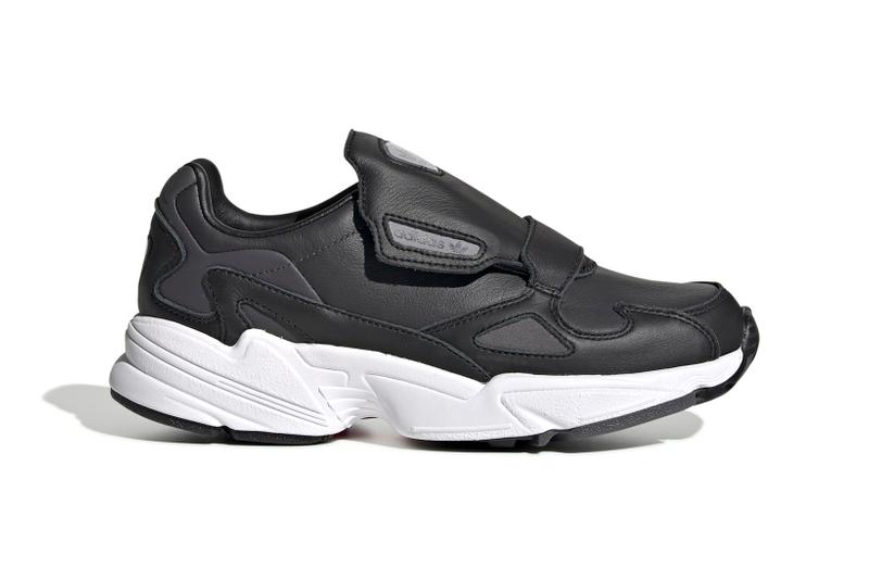 adidas Originals Falcon RX Black White Monochrome Trainers Womens Slip on Laceless Sneakers