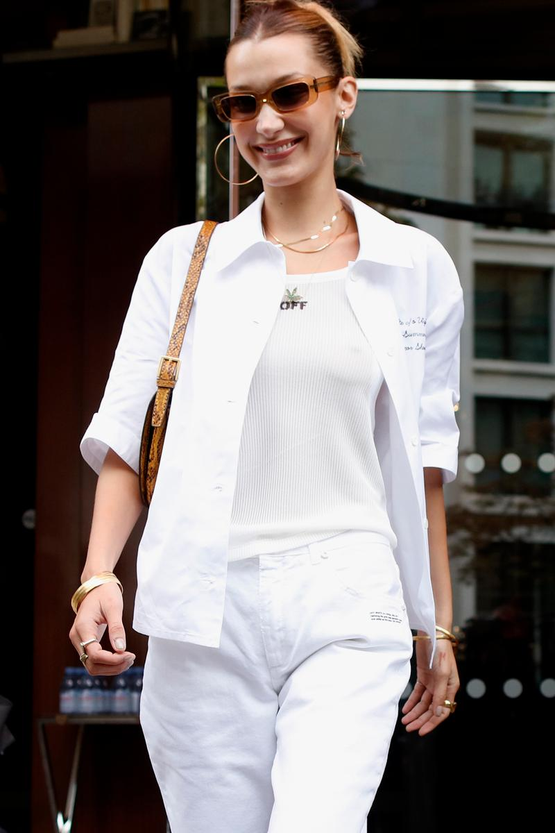 Bella Hadid Off-Duty Style Paris Fashion Week SS20 Spring Summer Off-White White Top Sunglasses Hoop Earrings Necklace Blonde Hair