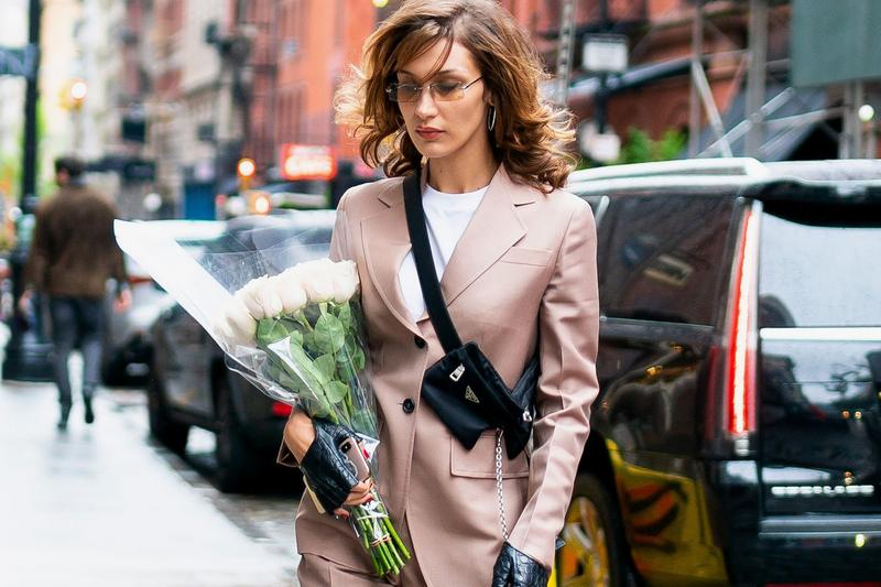 bella hadid colored tinted sunglasses blazer fanny pack prada flowers 80s eighties fashion trends
