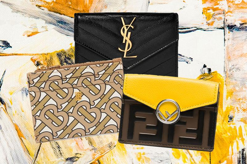Burberry Simone Monogram Logo-Print Leather Wallet Fendi Yellow And Brown Logo Trifold Leather Wallet Saint Laurent Quilted Textured-Leather Wallet