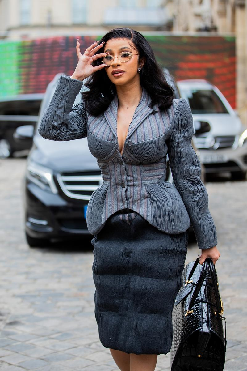 cardi b thom browne paris fashion week ss20 spring summer 2020 best celebrity style grey suit blazer skirt glasses