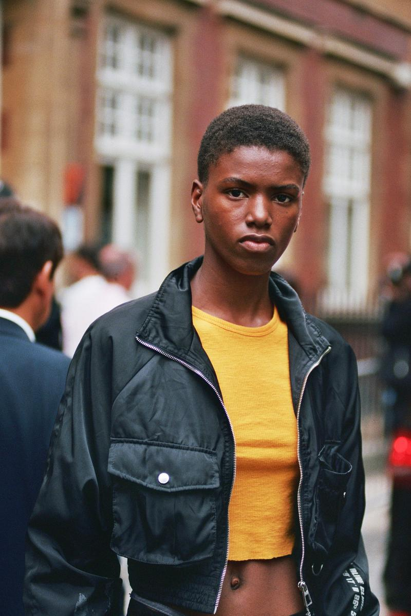 model off duty style spring summer 2020 orange crop top black bomber jacket
