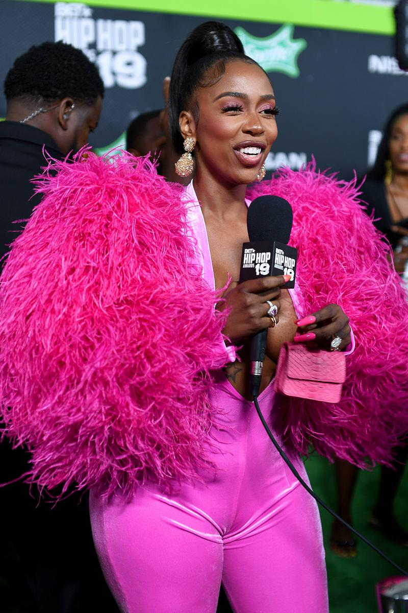 Kash Doll BET Hip Hop Awards 2019 Pink Feather Catsuit