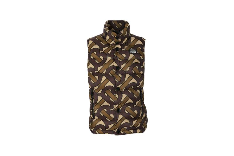 Burberry Monogram Print Puffer Gilet Bridle Brown