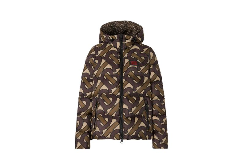 Burberry Monogram Print Puffer Jacket Bridle Brown