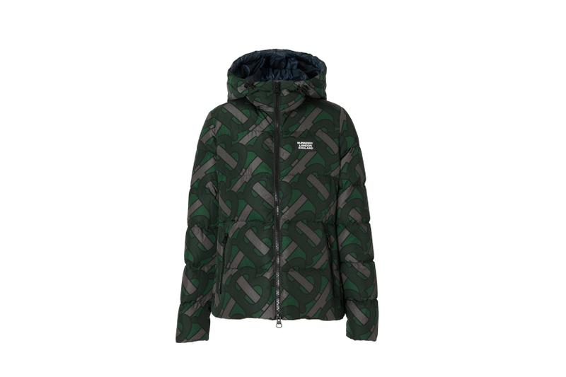 Burberry Monogram Print Puffer Jacket Forest Green