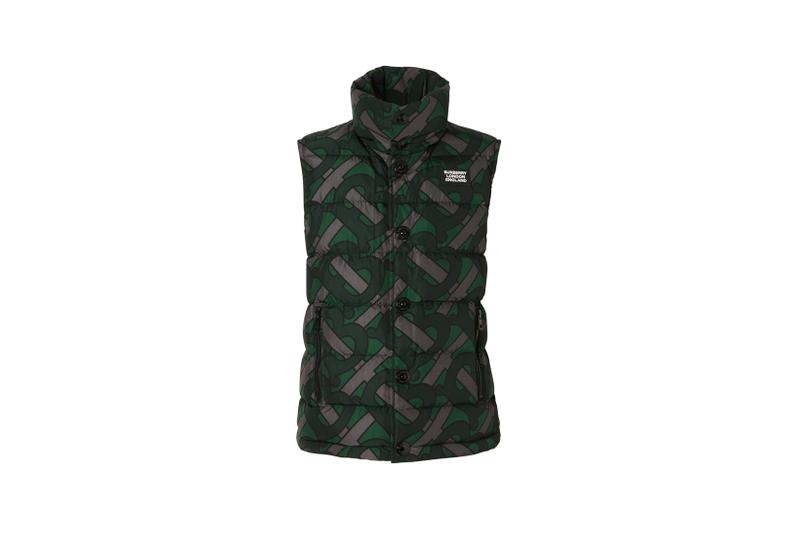 Burberry Monogram Print Puffer Gilet Forest Green