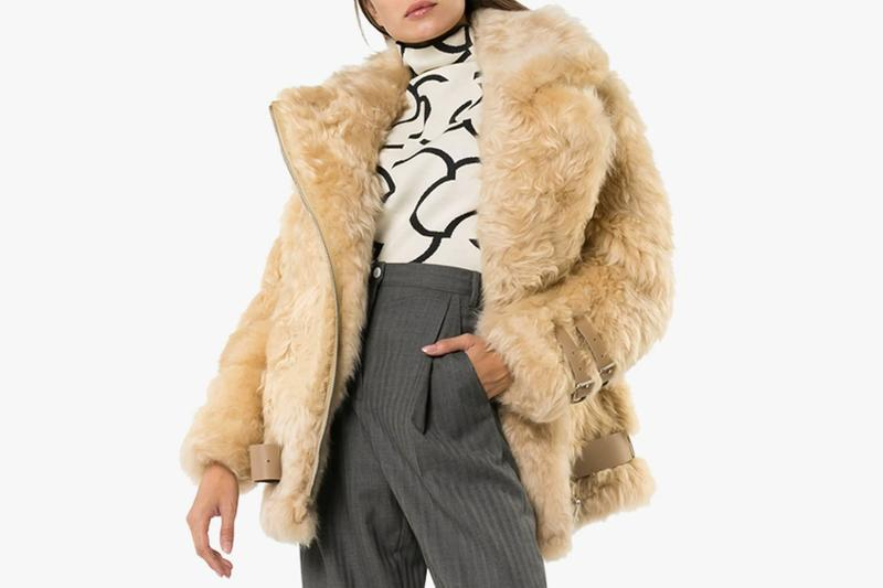 fur coat fashion clothes brown grey pants