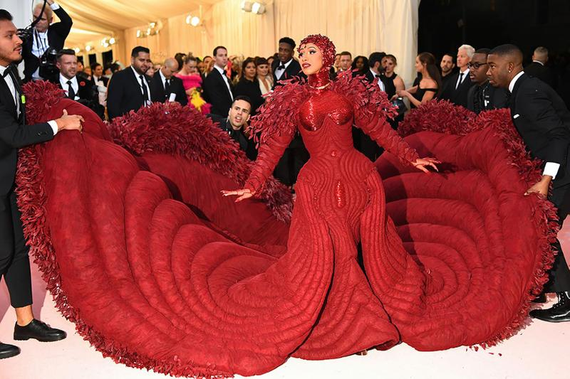 cardi b met gala thom browne red gown dress stefere jewerly
