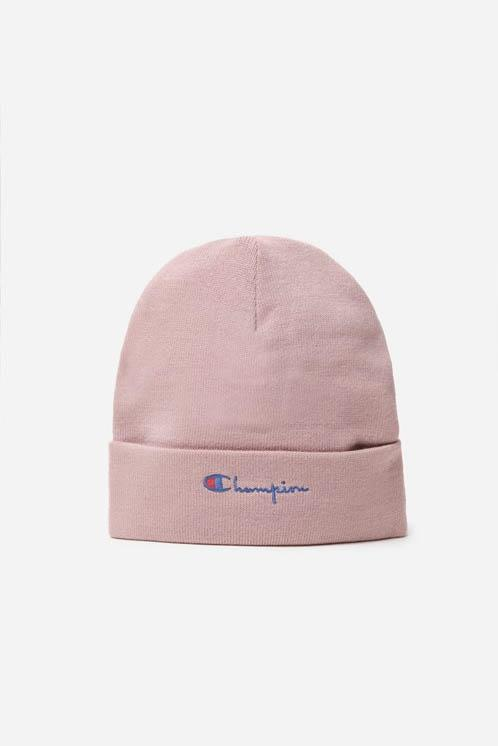 Champion Logo Beanie Hat Pink Yellow Grey Fall Winter Accessory Sporty Cozy Staple