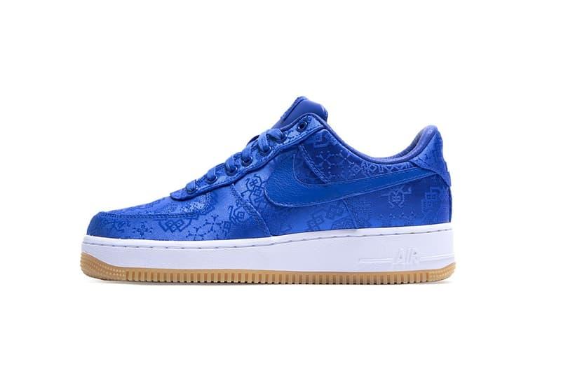 "CLOT x Nike Air Force 1 ""Royale University Blue Silk"" Sneaker Collaboration Release Date Trainer Shoe Footwear Pattern Drop"