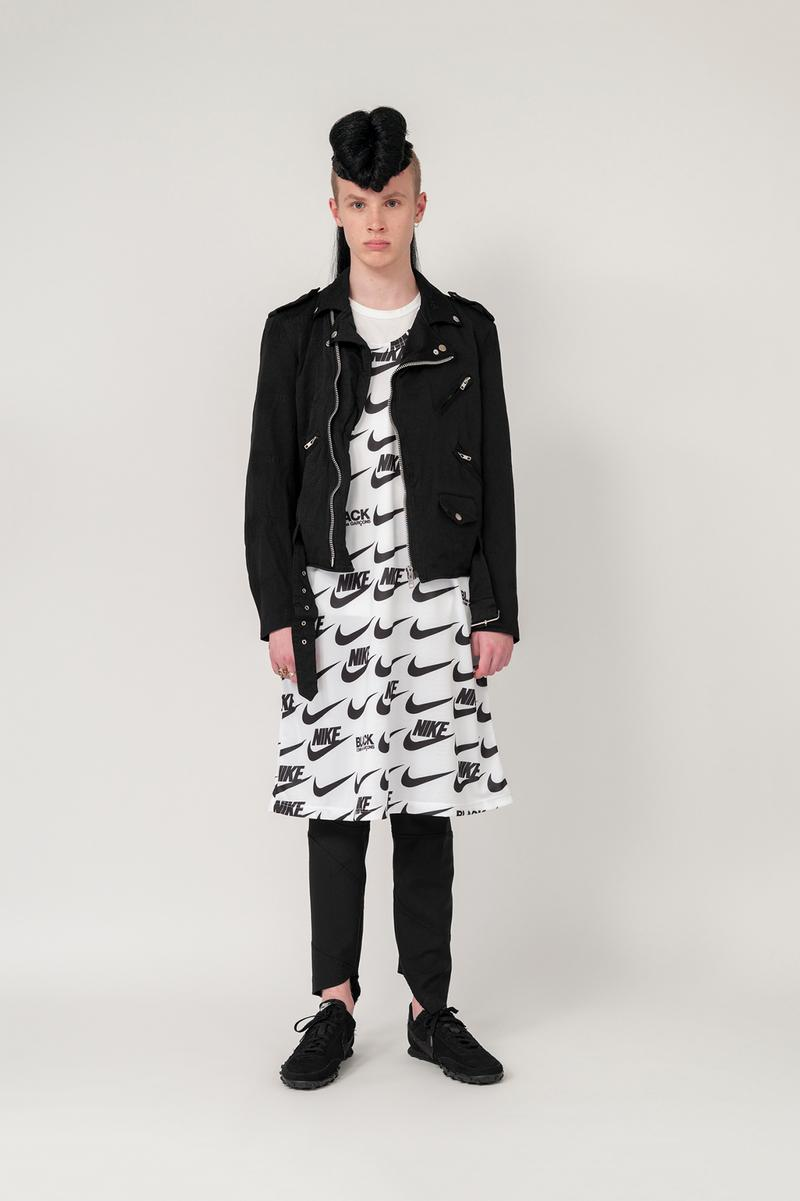 Nike x BLACK COMME des GARCONS Fall/Winter 2019 Collection Swoosh Dress T-Shirt Motorcycle Jacket Mens