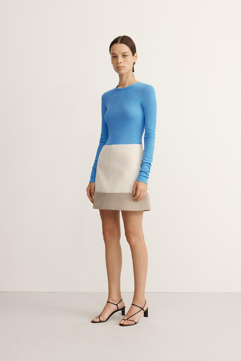 COS Spring Summer 2020 Collection Lookbook Jersey Top Cyan Cotton Miniskirt Off-White