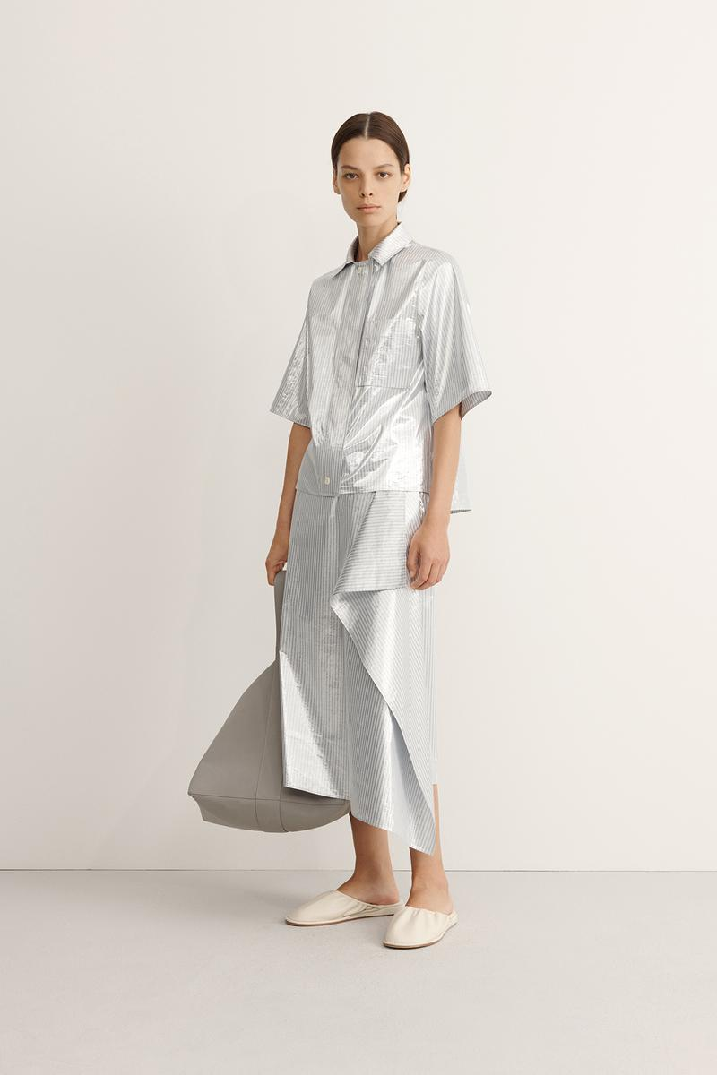 COS Spring Summer 2020 Collection Lookbook Striped Shirt Draped Skirt High Shine Silver Leather Bag Pewter