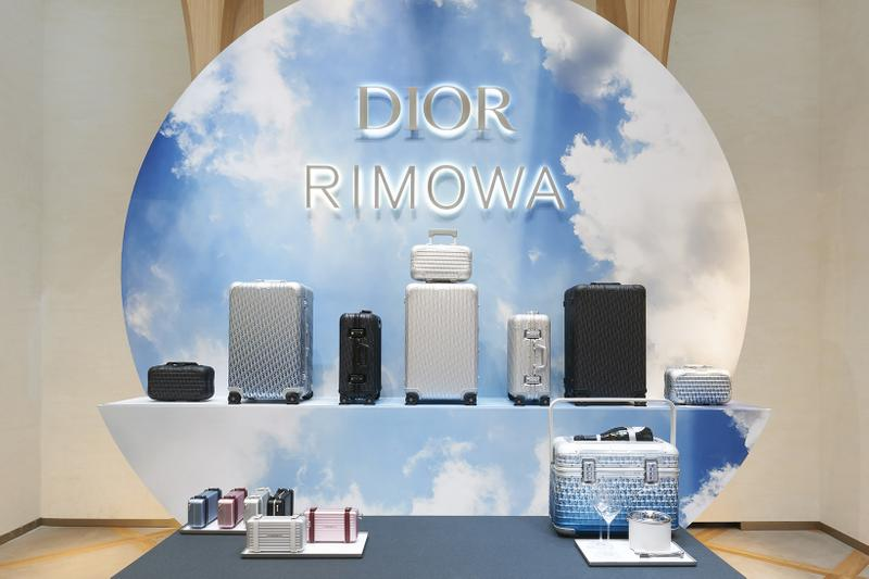 dior rimowa suitcase luggage collaboration travel bags blue silver