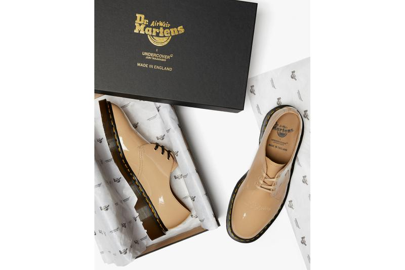 UNDERCOVER x Dr. Martens Patent Leather Shoes Collaboration Collection Drop Black Beige
