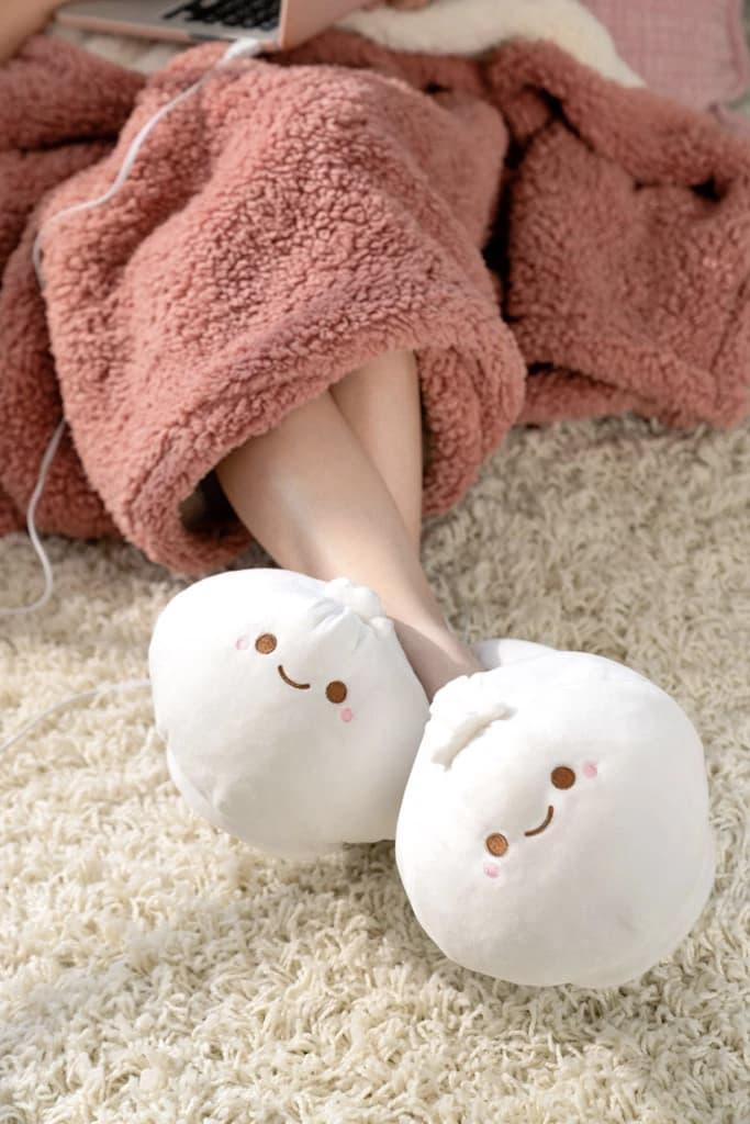 SMOKO USB Heated Dumpling Slippers Cozy Shoes