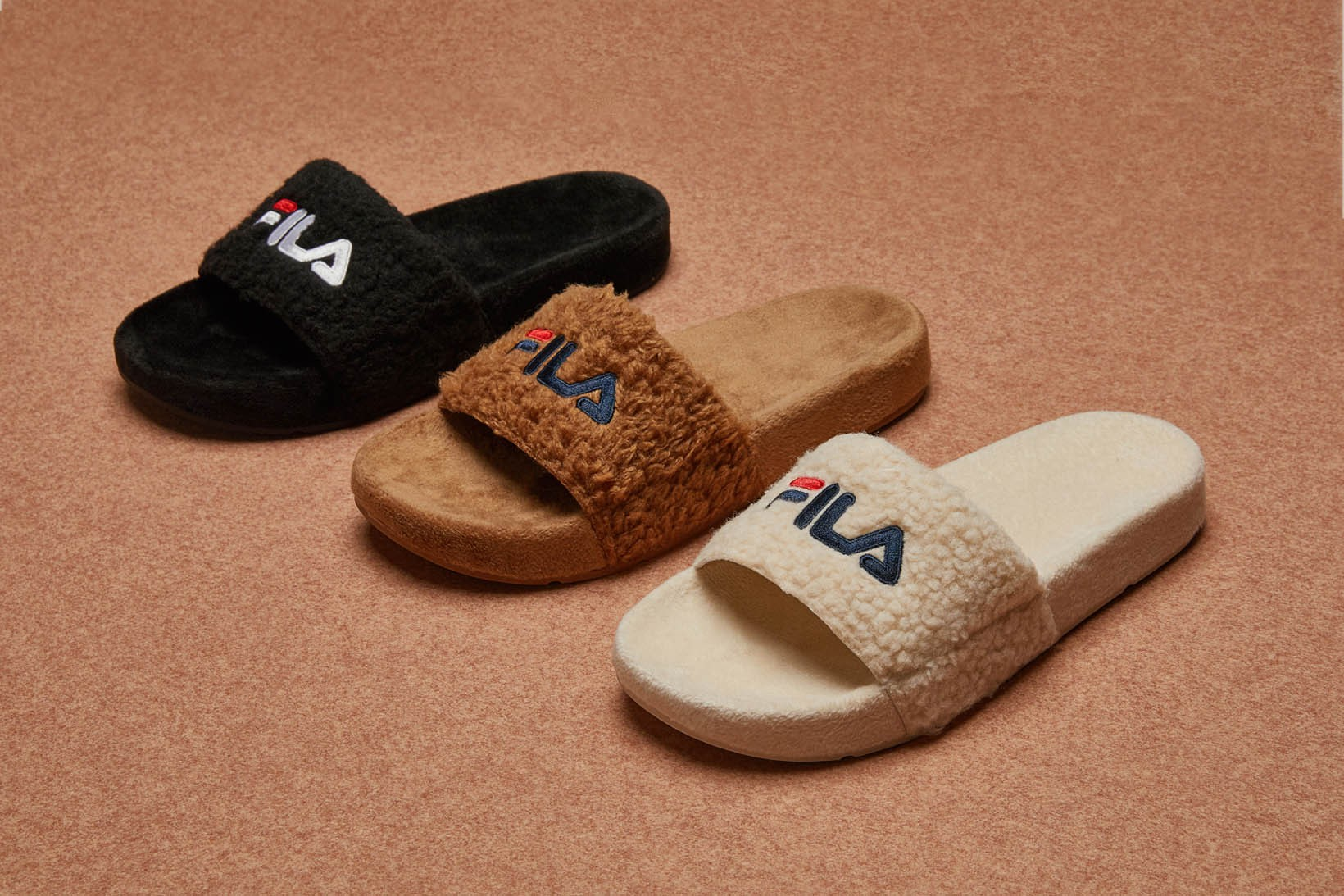 FILA Furry Slides in Brown, Black and