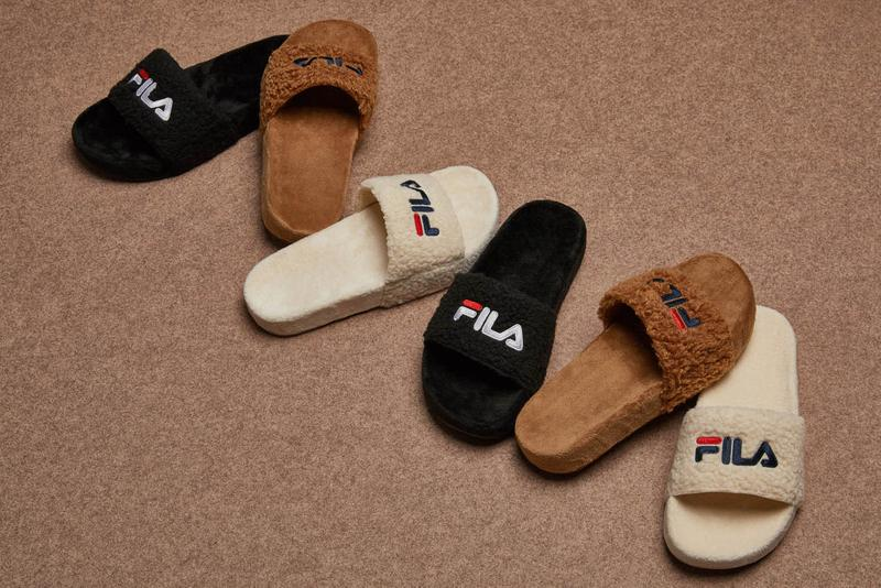 FILA Furry Fuzzy Slides Sandals Brown Black Off-White Faux Fur Korea