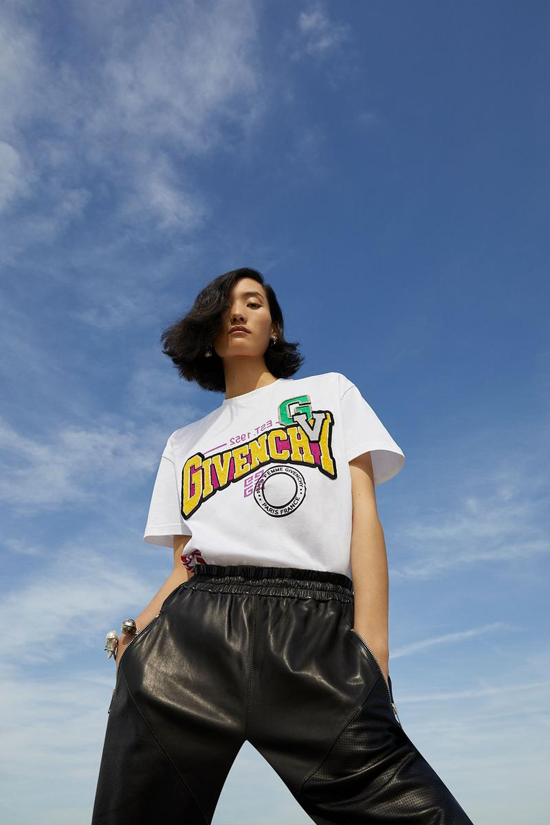 givenchy fashion apparel clothes varsity t shirt white black yellow grey model clare waight keller