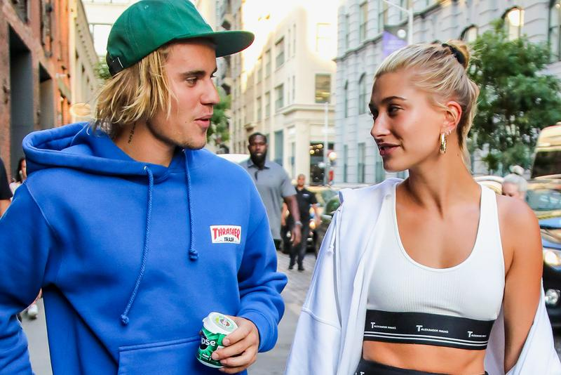 Hailey Baldwin Justin Bieber Couple Celebrity Wedding Married T Alexander Wang Sports Bra White Blue Hoodie Green Hat Cap Gold Hoop Earrings