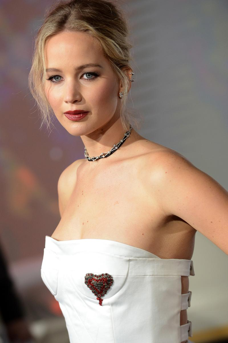 Jennifer Lawrence Dior White Gown Dress Red Lipstick Blonde Hair Updo Necklace