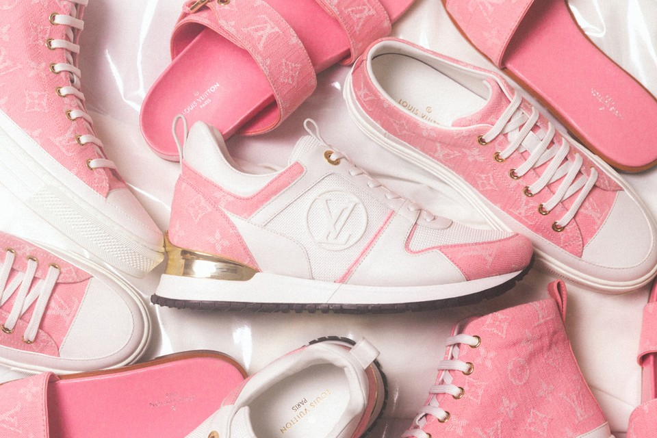 An Exclusive Look at Louis Vuitton's Pink Monogram Denim Footwear Collection