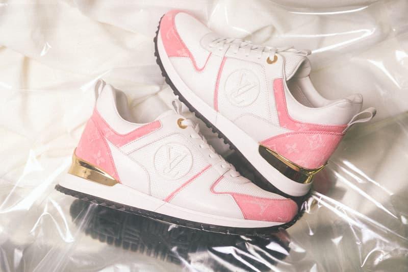 louis vuitton pink white gold monogram denim run away stellar sneakers boot bom dia flat lock it mules footwear shoes