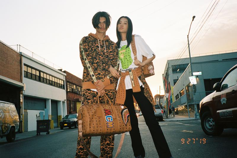 mcm bape collaboration streetwear jackets pants backpack bags fashion campaign lookbook models brooklyn new york
