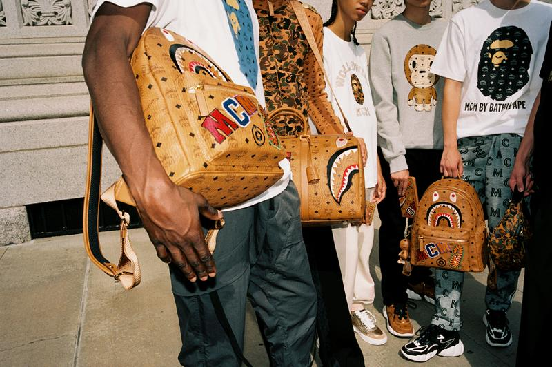 mcm bape collaboration streetwear jackets pants backpack bags fashion campaign lookbook models brooklyn new york