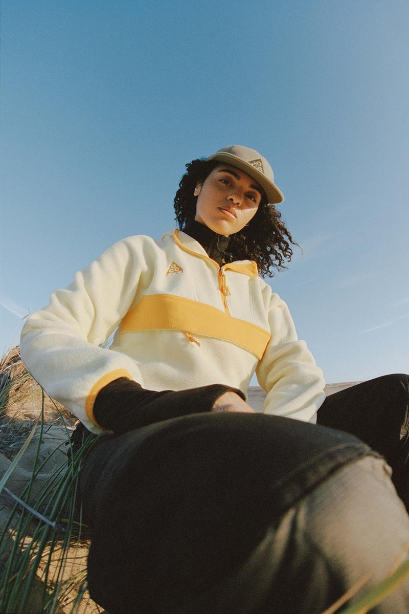 nike acg winter collection jackets yellow cap hat fashion clothes model